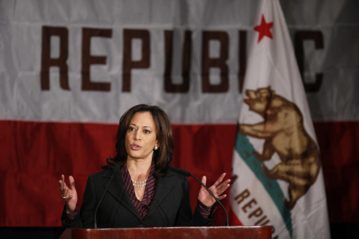 Kamala Harris gives her first news conference as California attorney general. (Damian Dovarganes/AP)