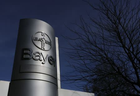 The logo of Bayer AG is pictured at the Bayer Healthcare subgroup production plant in Wuppertal February 24, 2014.  REUTERS/Ina Fassbender/File Photo