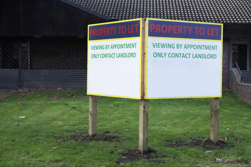 Small billboard reads Property to Let