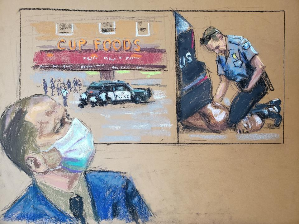 A court drawing of former Minneapolis police officer Derek Chauvin watching a screen showing video of the scene in which George Floyd was killed.
