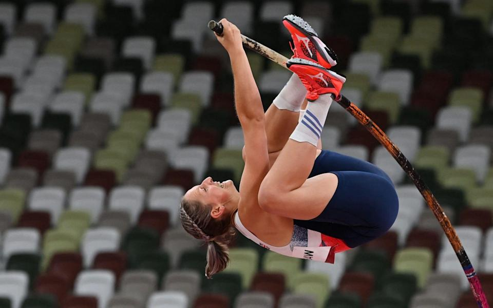 Holly Bradshaw competing in qualification - AFP