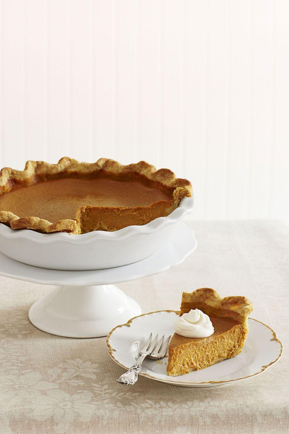 """<p>This pumpkin pie and its whipped cream topping are made with a splash of dark rum, making this American classic even more irresistible. Bonus tip: Start this off by making Garten's famous <a href=""""https://www.goodhousekeeping.com/food-recipes/a15497/perfect-piecrust-recipe-ghk1113/"""" rel=""""nofollow noopener"""" target=""""_blank"""" data-ylk=""""slk:Perfect Piecrust recipe"""" class=""""link rapid-noclick-resp"""">Perfect Piecrust recipe</a>.</p><p><em><a href=""""https://www.goodhousekeeping.com/food-recipes/a15954/ultimate-pumpkin-pie-rum-whipped-cream-recipe-ghk1113/"""" rel=""""nofollow noopener"""" target=""""_blank"""" data-ylk=""""slk:Get the recipe for Ultimate Pumpkin Pie with Rum Whipped Cream »"""" class=""""link rapid-noclick-resp"""">Get the recipe for Ultimate Pumpkin Pie with Rum Whipped Cream »</a></em> </p>"""