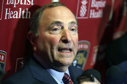 National Hockey League Commissioner Gary Bettman speaks to members of the media , Saturday, March 7, 2020, in Sunrise, Fla. (AP Photo/Wilfredo Lee)