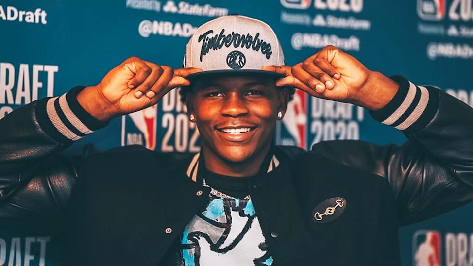 Anthony Edwards (pictured) poses after being picked No.1 in the 2020 NBA Draft.
