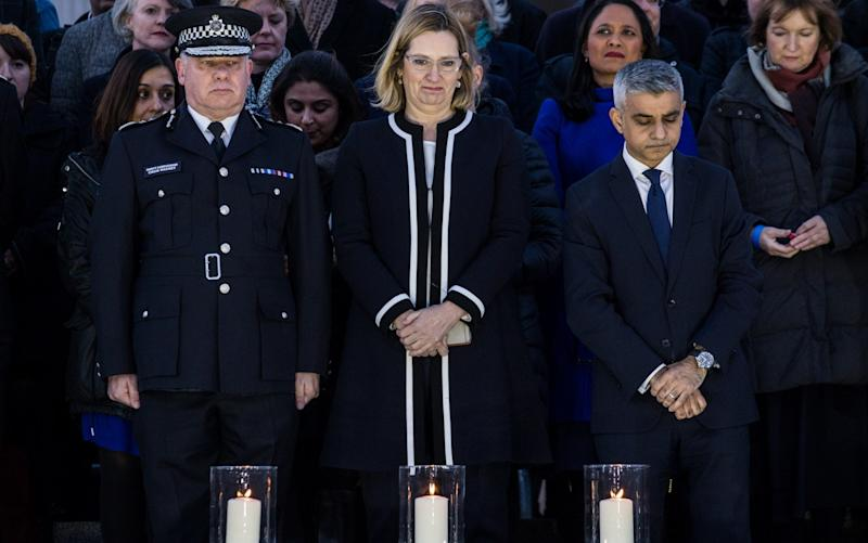 Deputy Commissioner Craig Mackey, Amber Rudd and Sadiq Khan at a vigil for the victims of Wednesday's attack, at Trafalgar Square Aftermath of terror attack outside parliament in London, United Kingdom - Credit:  James Gourley/REX/Shutterstock/ James Gourley/REX/Shutterstock