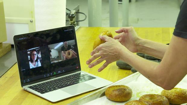 A client in Mexico gets a lesson in bagel-making via Zoom from Beth George of BYOB Bagels. / Credit: CBS News