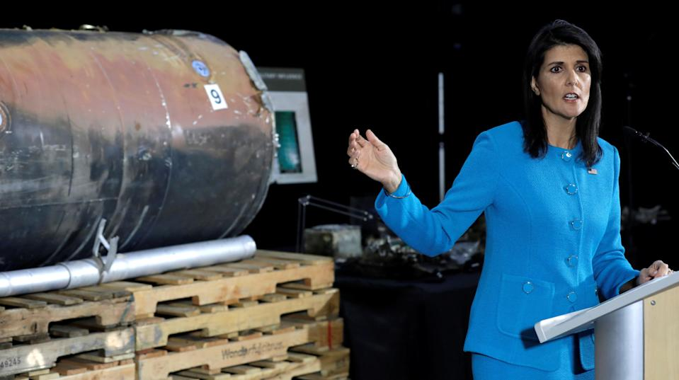 """The U.S. ambassador to the United Nations, Nikki Haley, stood before missile remnants that she claimed were covered in Iranian """"fingerprints"""" on Thursday while laying out what she called """"irrefutable evidence"""" that Tehran has violated its international obligations by militarily supporting rebels in Yemen."""