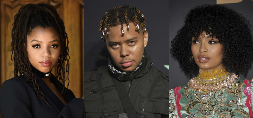 """This combination photo shows, from left, Chloe Bailey of the sister duo Chloe x Halle, rapper YBN Cordae and actor and activist Yara Shahidi, who will be featured in a new EP about the Black experience. """"Music for the Movement Volume III – Liberated,"""" out on Friday, is the third volume in Disney's four-part series of EPs honoring Black lives and social justice under a joint venture between Disney Music Group and The Undefeated, ESPN's platform for exploring the intersections of race, sports and culture. (AP Photo)"""