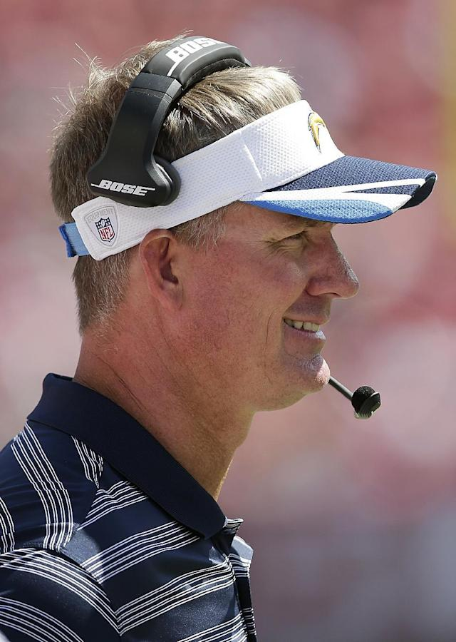 San Diego Chargers head coach Mike McCoy watches from the sideline during the third quarter of an NFL preseason football game against the San Francisco 49ers in Santa Clara, Calif., Sunday, Aug. 24, 2014. (AP Photo/Marcio Jose Sanchez)