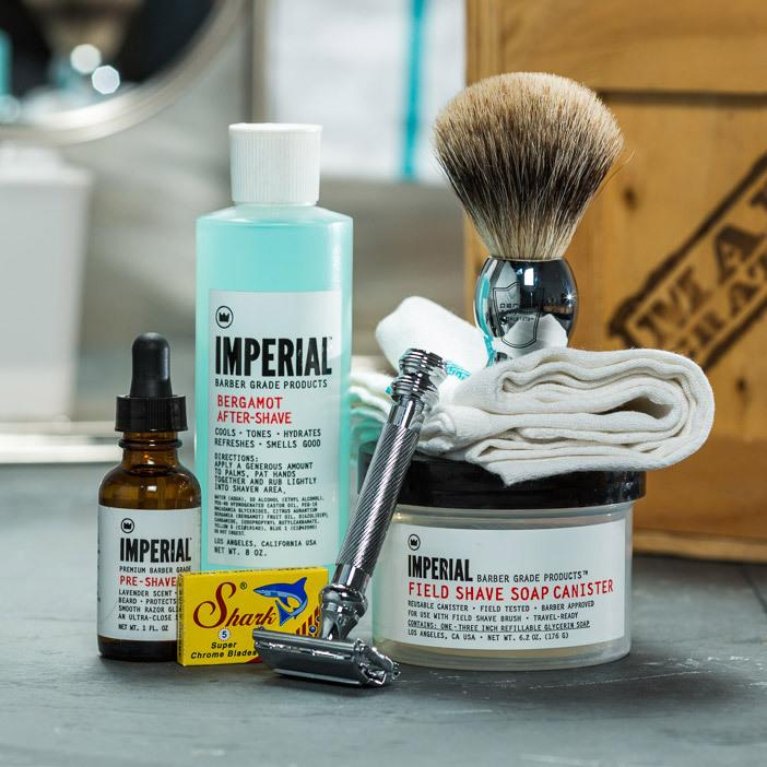 """<p>This full shaving kit, which includes an old-school badger brush and a chrome razor, comes in a wooden crate that your dad will have to open with a crowbar. (Don't worry — it comes with a crowbar.) Let's hope he has patience. <b><a href=""""http://www.mancrates.com/crates/clean-shave"""">Man Crates Clean Shave Crate</a> ($140)</b></p>"""