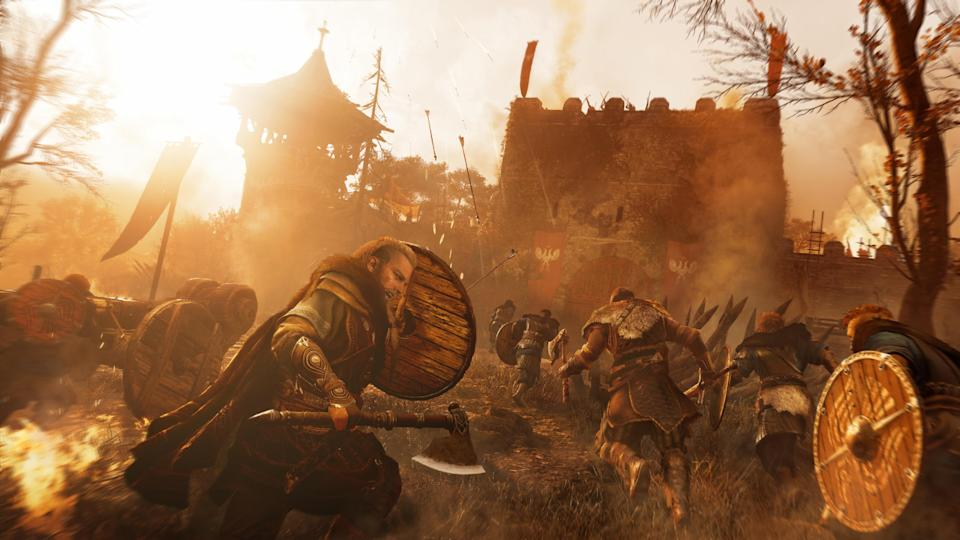You'll battle across England in 'Valhalla,' taking part in large-scale battles and even building out your own village. (Image: Ubisoft)