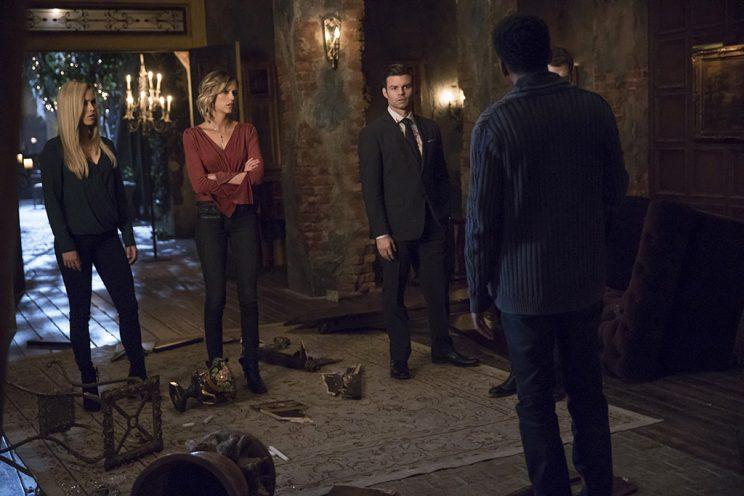 Claire Holt as Rebekah, Riley Voelkel as Freya, Daniel Gillies as Elijah and Yusuf Gatewood as Vincent in The CW's The Originals. (Photo Credit: Bob Mahoney/The CW)