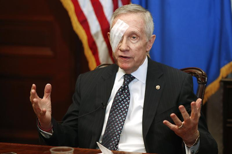 Reid holds a news conference in his office at the U.S. Capitol in Washington