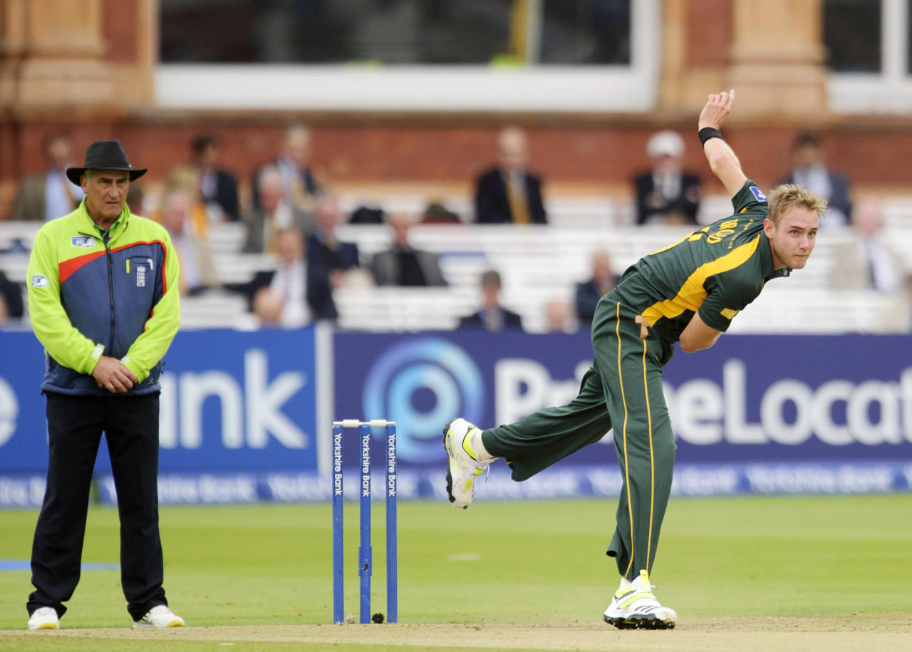 Nottinghamshire's Stuart Broad during the Yorkshire Bank Pro40 Final at Lord's Cricket Ground, London.