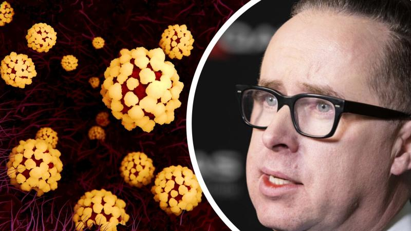 Pictured: Qantas CEO Alan Joyce and interpretation of coronavirus cells. Images: Getty