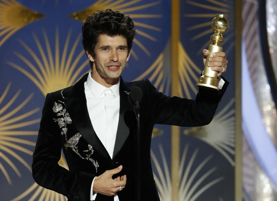Ben Whishaw, winner of Best Supporting Actor – Series/Limited Series/TV Movie, accepts his award