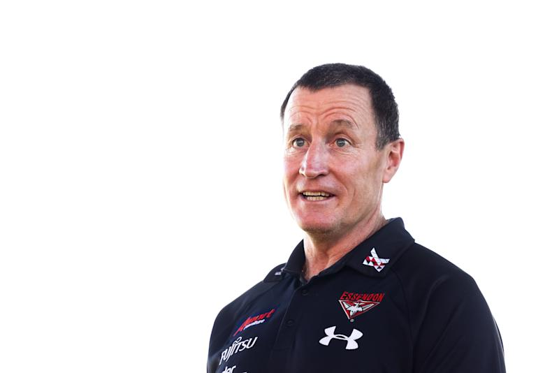Bombers head coach John Worsfold speaks to the media prior to an Essendon Bombers AFL training session.