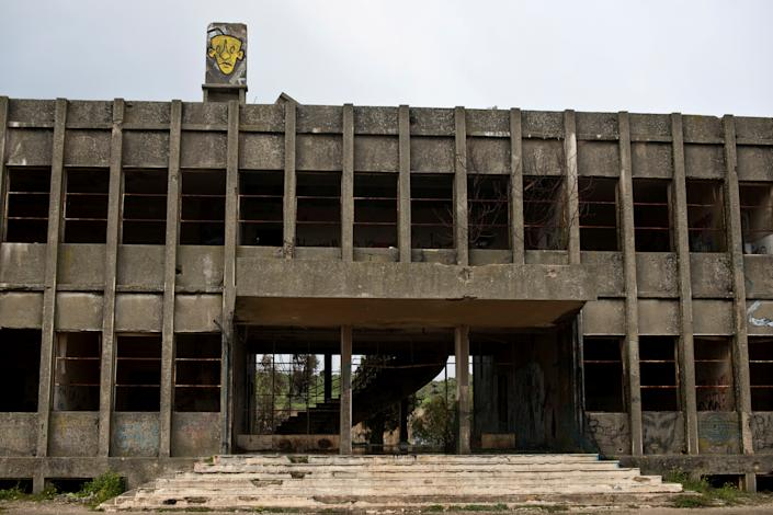 Part of an abandoned Syrian building is seen in the Golan Heights, in territory that Israel captured from Syria in the 1967 Six Day War, Feb. 27, 2019. Once a military headquarters, it is one of many Syrian buildings left deserted and abandoned since the war. (Photo: Ronen Zvulun/Reuters)