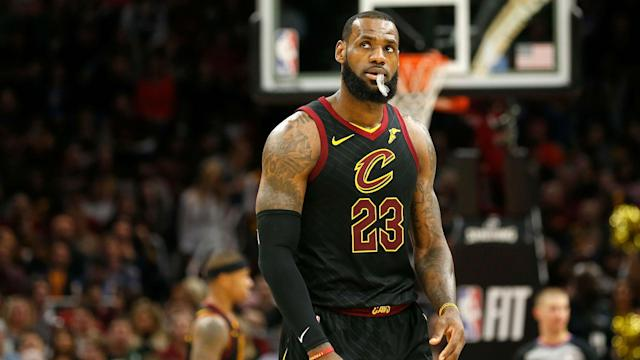 A heckler in Portland asked LeBron James where Kyrie Irving was, and the Cavs star had a strong response back.