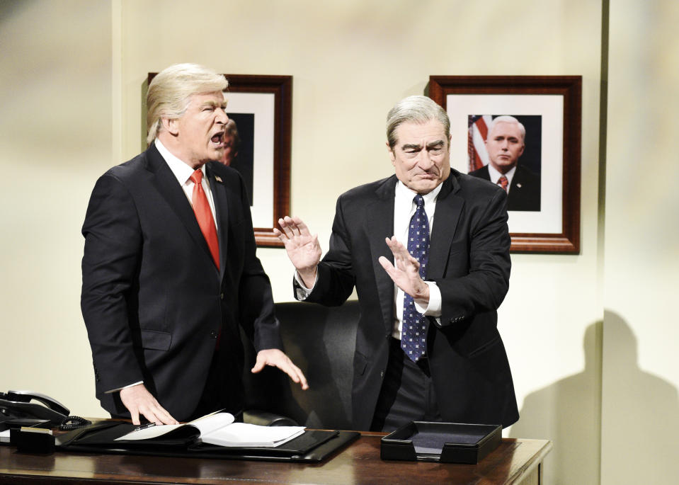 "SATURDAY NIGHT LIVE -- ""Sandra Oh"" Episode 1762 -- Pictured: (l-r) Alec Baldwin as Donald Trump and Robert De Niro as Robert Mueller during the ""Mueller Report"" Cold Open on Saturday, March 30, 2019 -- (Photo by: Will Heath/NBCU Photo Bank/NBCUniversal via Getty Images via Getty Images)"
