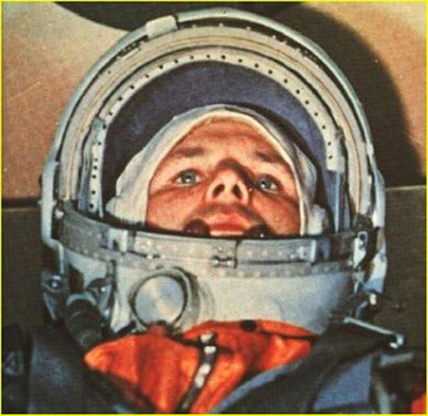 Russian cosmonaut Yuri Gagarin, the first man in space, in his Vostok 1 capsule on April 12, 1961 (AFP Photo/-)