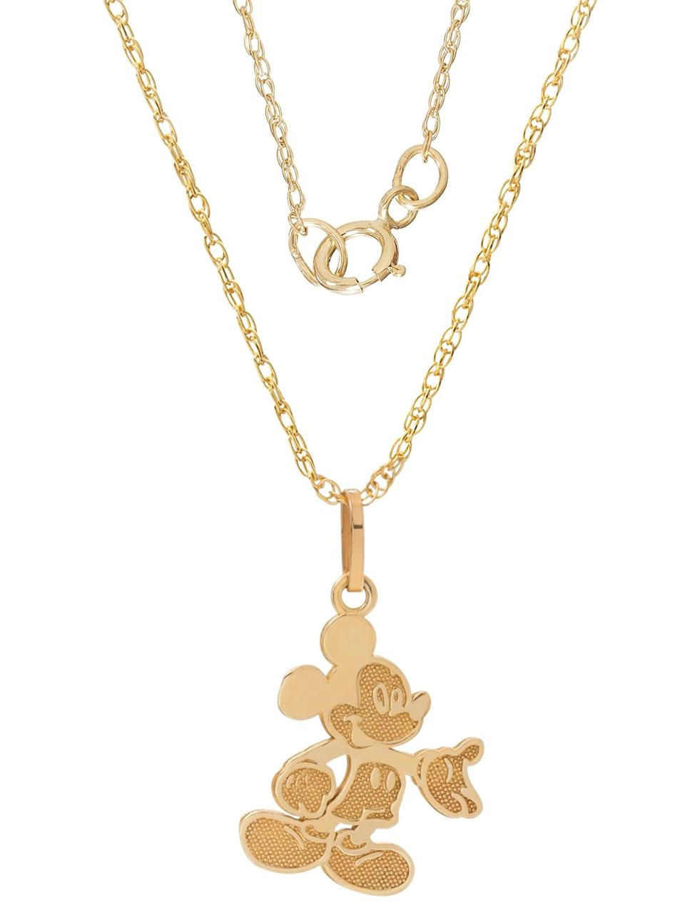 """<h3>Disney 10K Gold Mickey Mouse Pendant<br></h3> <br>A gold-filled chain helps keeps the price of this charming Mickey Mouse necklace shockingly low.<br><br><em>Shop fine jewelry at <strong><a href=""""https://www.walmart.com/browse/jewelry/fine-jewelry/3891_8709006_9465826_1228254"""" rel=""""nofollow noopener"""" target=""""_blank"""" data-ylk=""""slk:Walmart"""" class=""""link rapid-noclick-resp"""">Walmart</a></strong></em><br><br><strong>Disney</strong> Mickey Mouse Pendant Necklace with Gold-Filled Chain, $, available at <a href=""""https://go.skimresources.com/?id=30283X879131&url=https%3A%2F%2Fwww.walmart.com%2Fip%2FDisney-10kt-Yellow-Gold-Full-Body-Mickey-Mouse-Pendant-Necklace-with-Gold-Filled-Chain%2F48201824"""" rel=""""nofollow noopener"""" target=""""_blank"""" data-ylk=""""slk:Walmart"""" class=""""link rapid-noclick-resp"""">Walmart</a><br><br><br>"""