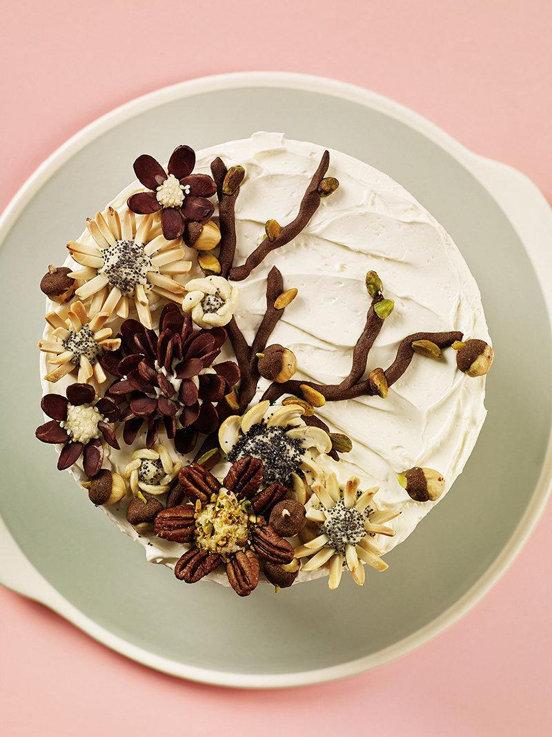 A top view of Gardner's veggie cake, decorated with nuts. (Heath Robbins)