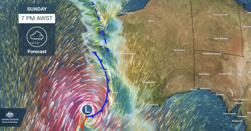 The low pressure system battering the coast last night. Source: BOM