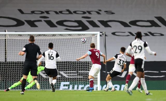 Chris Wood fires home Burnley's second goal of the game