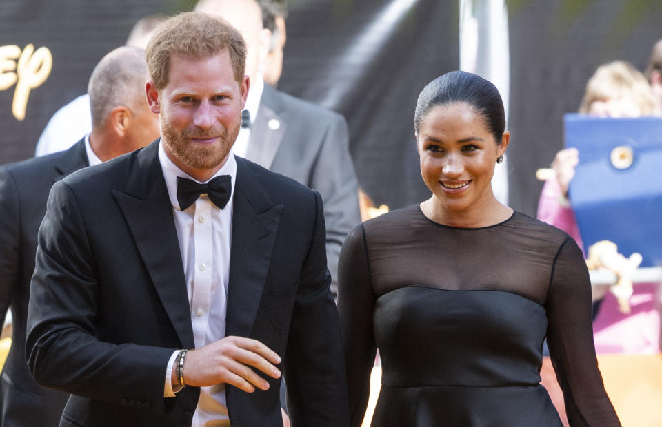 """LONDON, ENGLAND - JULY 14: Prince Harry, Duke of Sussex and Meghan, Duchess of Sussex attend """"The Lion King"""" European Premiere at Leicester Square on July 14, 2019 in London, England. (Photo by Mark Cuthbert/UK Press via Getty Images)"""