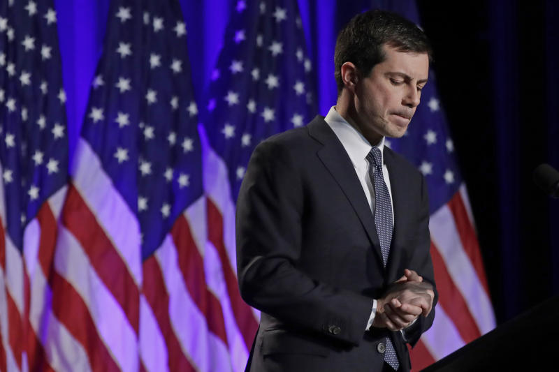 Democratic presidential candidate South Bend, Ind., Mayor Pete Buttigieg delivers a Veterans Day address at a campaign event on Monday in Rochester, N.H. (Photo: Elise Amendola/AP)
