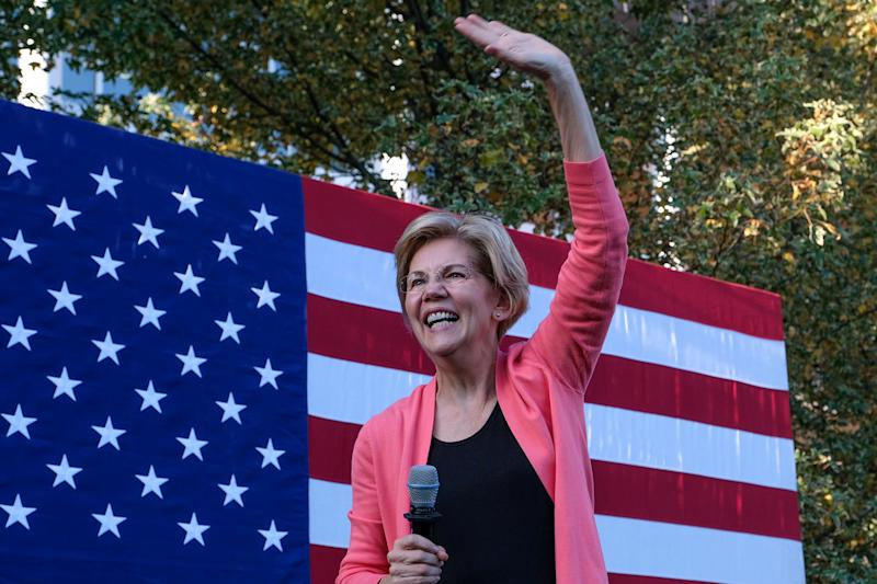 Massachusetts Senator and presidential candidate, Elizabeth Warren speaks at Keene State College a day after Congress announced the beginning of a formal impeachment inquiry of President Trump. (Photo: Preston Ehrler/SOPA Images/LightRocket via Getty Images)