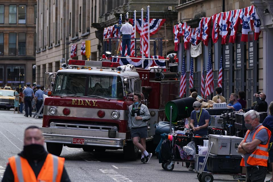 Crew have set up on Cochrane Street (Andrew Milligan/PA) (PA Wire)