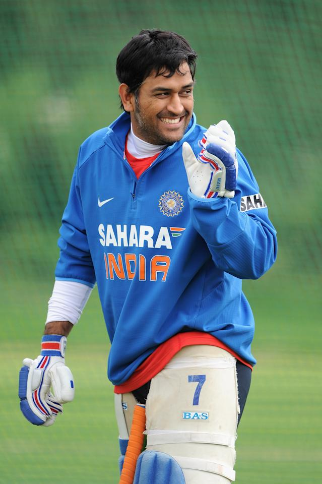CHESTER-LE-STREET, ENGLAND - SEPTEMBER 02: Indian captain MS Dhoni during a nets session at The Riverside on September 2, 2011 in Chester-le-Street, England.  (Photo by Gareth Copley/Getty Images)
