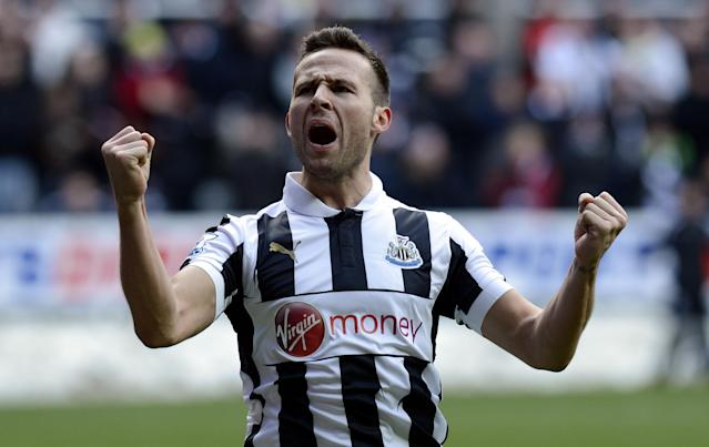 File photo dated 24/02/2013 of Newcastle's Yohan Cabaye celebrating scoring from the penalty spot during the Barclays Premier League match at St James' Park, Newcastle.