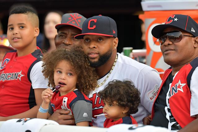 Carlos Santana of the Cleveland Indians and the American League looks on during the T-Mobile Home Run Derby at Progressive Field on July 08, 2019 in Cleveland, Ohio. (Photo by Jason Miller/Getty Images)