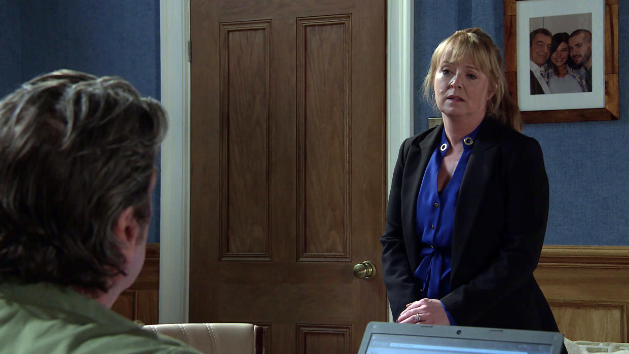 FROM ITV  STRICT EMBARGO  -  No Use Before Tuesday 1st June 2021   Coronation Street - Ep 10344  Monday 7th June 2021 - 1st Ep   Johnny Connor [RICHARD HAWLEY] tells Jenny Connor [SALLY ANN MATTHEWS] putting the pub up for sale  Picture contact David.crook@itv.com   This photograph is (C) ITV Plc and can only be reproduced for editorial purposes directly in connection with the programme or event mentioned above, or ITV plc. Once made available by ITV plc Picture Desk, this photograph can be reproduced once only up until the transmission [TX] date and no reproduction fee will be charged. Any subsequent usage may incur a fee. This photograph must not be manipulated [excluding basic cropping] in a manner which alters the visual appearance of the person photographed deemed detrimental or inappropriate by ITV plc Picture Desk. This photograph must not be syndicated to any other company, publication or website, or permanently archived, without the express written permission of ITV Picture Desk. Full Terms and conditions are available on  www.itv.com/presscentre/itvpictures/terms