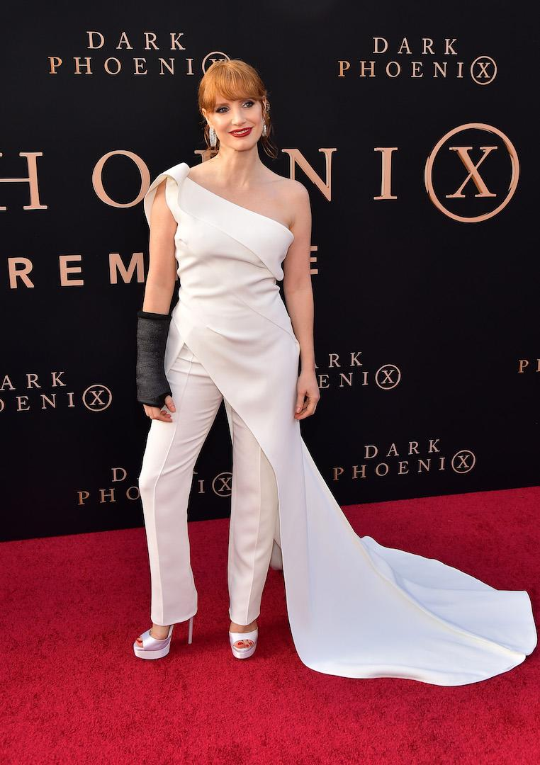 Jessica Chastain worked the red carpet in an all-cream jumpsuit by Toni Maticevski with a bold lip to finish. <em>[Photo: Getty]</em>