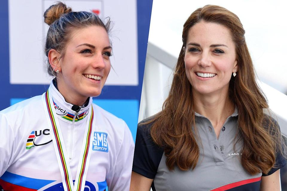 <p>French cyclist Pauline Ferrand-Prevot (left) and Catherine Duchess of Cambridge (right). </p>
