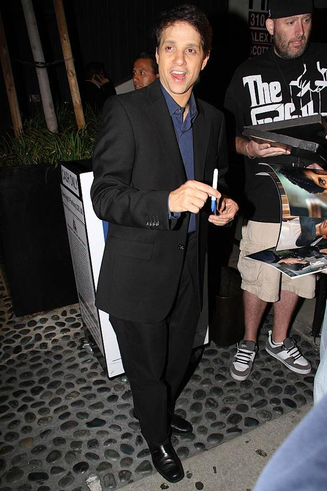 """Fan favorite Ralph Macchio stopped to sign a few autographs. Who would have imagined a dancing reality show would be """"The Karate Kid's"""" comeback? Michael Lockhart/<a href=""""http://www.pacificcoastnews.com/"""" target=""""new"""">PacificCoastNews.com</a> - April 19, 2011"""