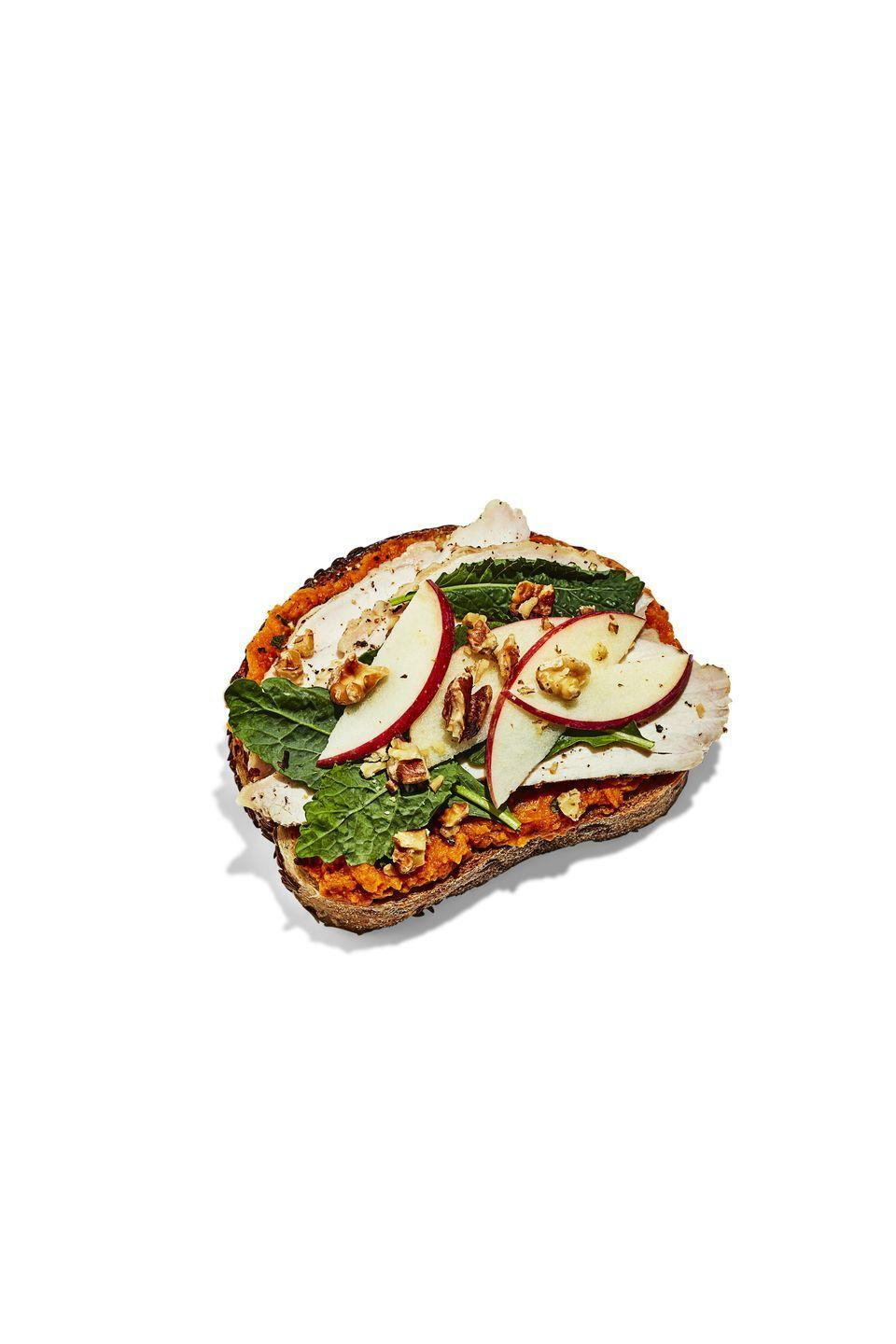 <p><strong>BREAD:</strong> 4 slices rye</p><p><strong>SPREAD:</strong> ¾ cup mashed sweet potato + 1 Tbsp chopped sage + 2 tsp maple syrup + ⅛ tsp cinnamon</p><p><strong>TOPPING:</strong> 2 Tbsp chopped walnuts + 1 sliced small apple + 1 cup baby kale</p>