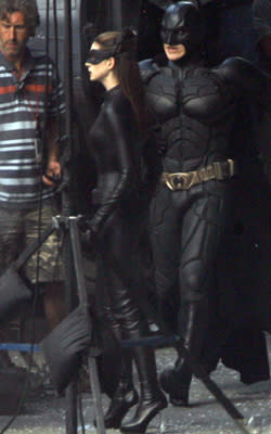 Catwoman and Batman, on the set! (Splash)