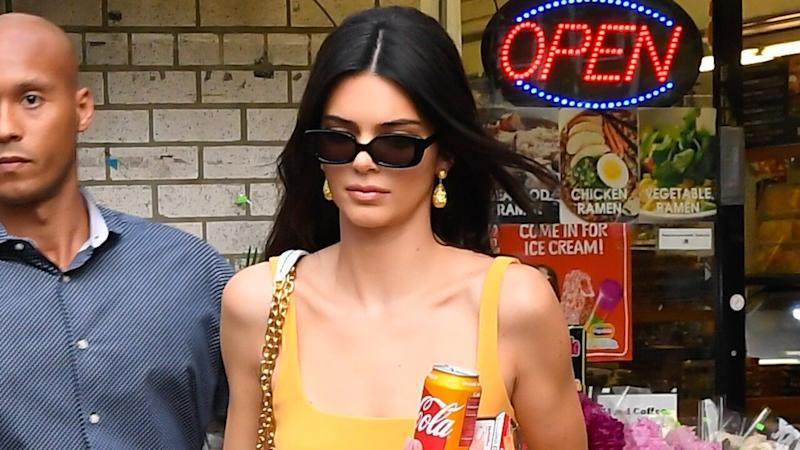 Kendall Jenner Matches Her Dress to a Soda Can on a Local Deli Run