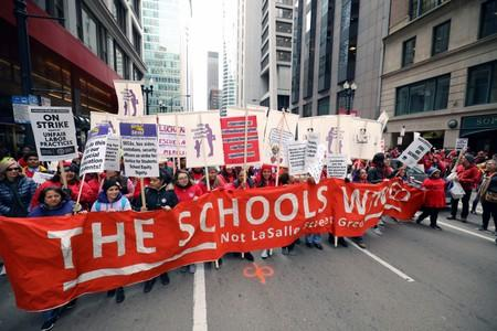 Teachers protest during a rally on the first day of a teacher strike in Chicago