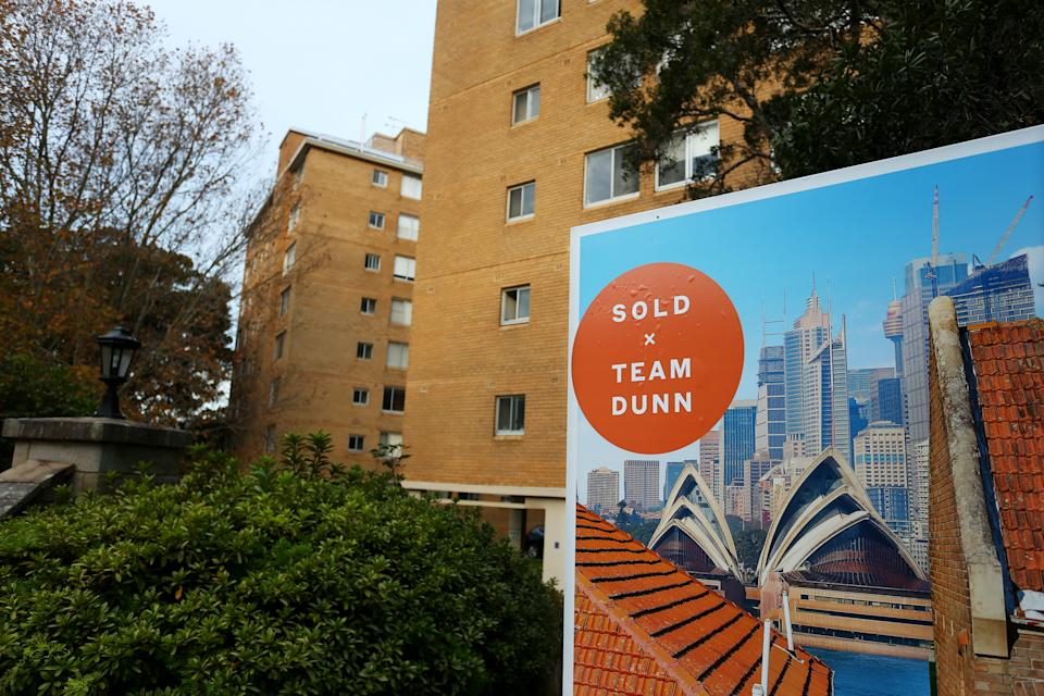 SYDNEY, AUSTRALIA - MAY 08: A 'sold' real estate sign is seen outside a high-rise apartment block in the suburb Kirrabilli on May 08, 2021 in Sydney, Australia. Property prices continue to rise across Australia with house prices up almost 27 percent compared to five years ago. Record low interest rates have also seen a surge in home loan applications in the last year. (Photo by Lisa Maree Williams/Getty Images)