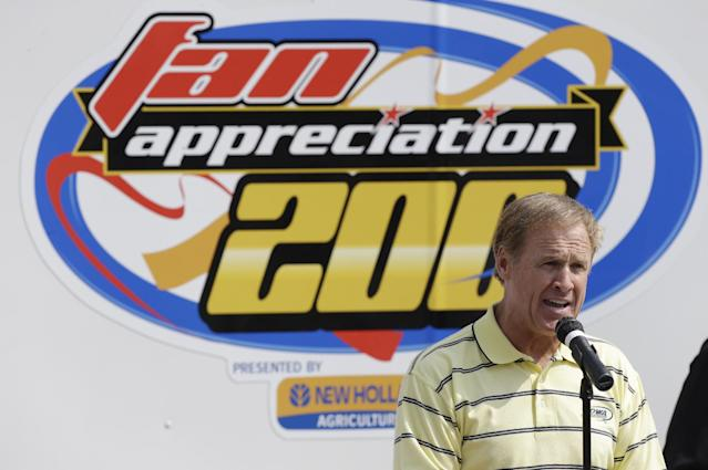 Rusty Wallace speaks before the start of the NASCAR Truck Series auto race, Sunday, Sept. 8, 2013, at Iowa Speedway in Newton, Iowa. (AP Photo/Charlie Neibergall)