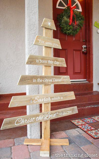 """<p>Remember the reason for the season with this pallet Christmas tree featuring the famed Bible verse from Luke 2:11. This project even comes with a free cut file to make creating it easy peasy.</p><p><strong>Get the tutorial at <a href=""""https://www.thinkingcloset.com/2014/12/08/diy-rustic-pallet-christmas-tree-silhouette-giveaway/"""" rel=""""nofollow noopener"""" target=""""_blank"""" data-ylk=""""slk:The Thinking Closet"""" class=""""link rapid-noclick-resp"""">The Thinking Closet</a>.</strong></p><p><a class=""""link rapid-noclick-resp"""" href=""""https://www.amazon.com/Komelon-4912IM-Professional-12-Foot-Metric/dp/B000CFJB08/ref=asc_df_B000CFJB08/?tag=syn-yahoo-20&ascsubtag=%5Bartid%7C10050.g.23322271%5Bsrc%7Cyahoo-us"""" rel=""""nofollow noopener"""" target=""""_blank"""" data-ylk=""""slk:SHOP TAPE MEASURES"""">SHOP TAPE MEASURES</a><br></p>"""