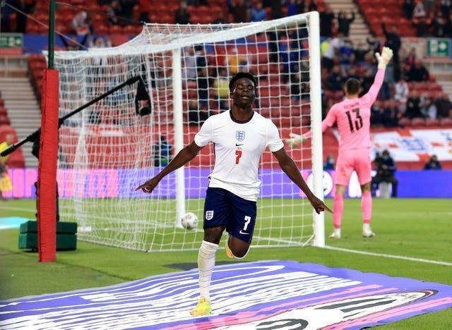 Bukayo Saka's first England goal earned the Three Lions victory in Middlesbrough.