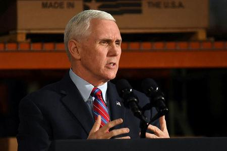 U.S. Vice President Mike Pence speaks about the American Health Care Act during a visit to the Harshaw-Trane Parts and Distribution Center in Louisville