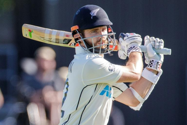 New Zealand's captain Kane Williamson on his way to 97 not out on the first day at Hamilton